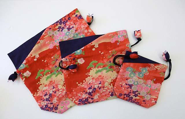 japanese kimono drawstring bag