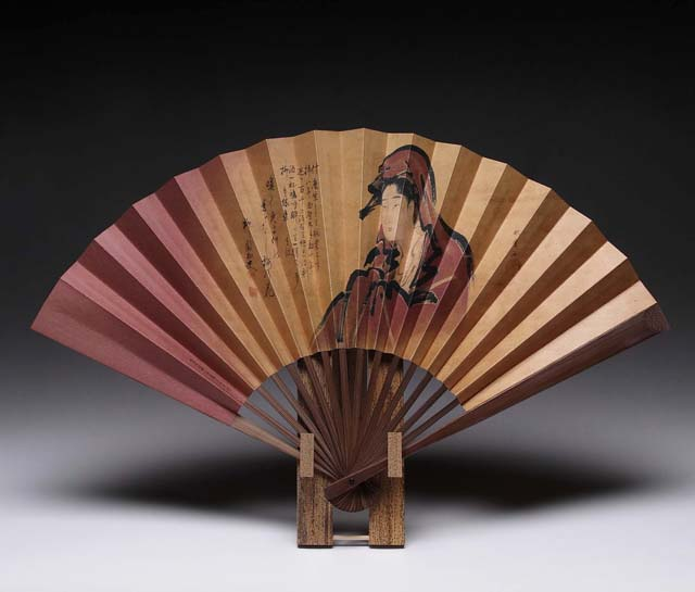 japanese folding fan sensu ukiyoe utamaro woman