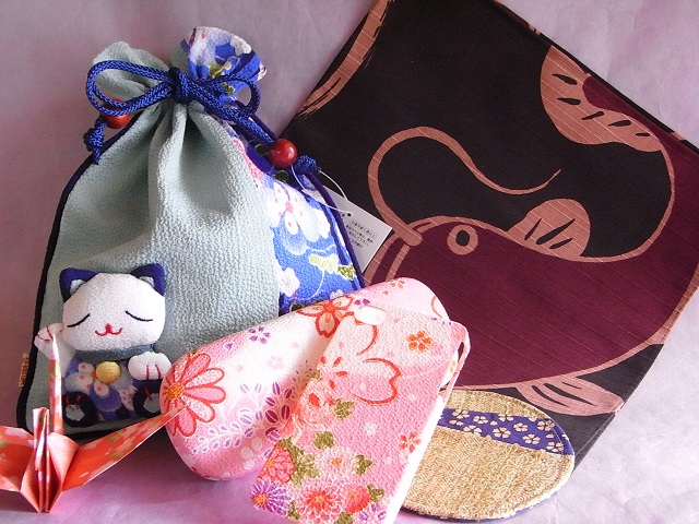 drawstring bag maneki neko set