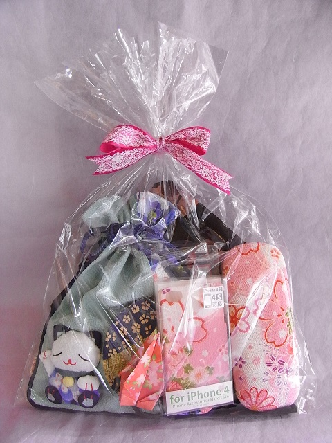 japanese drawstring bag maneki neko set