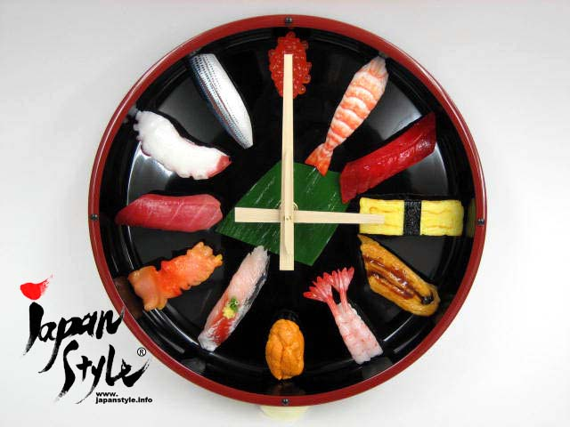 Japanese sushi wall clock fake food