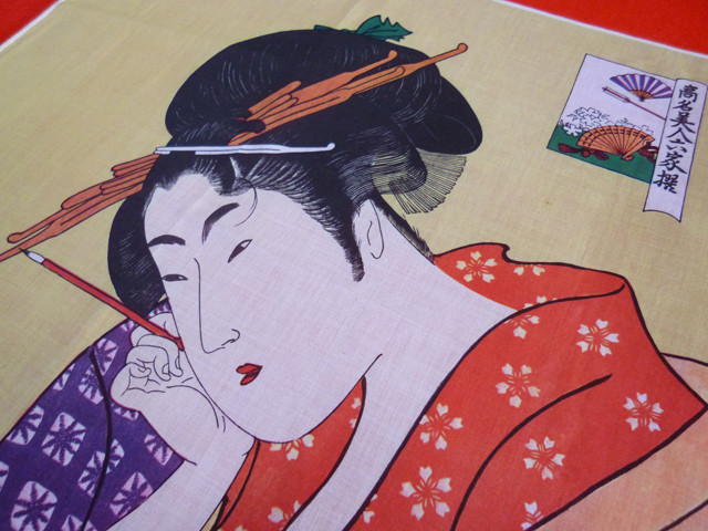 japanese ukiyoe furoshiki table cloth mat utamaro