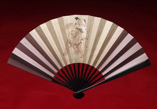 japanese folding fan sensu sumo black