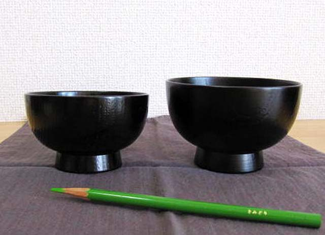 japanese lacquered soup bowl set black