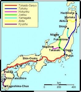 Shinkansen Lines. Credit: Sekicho