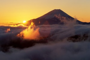 Sunrise in the back of Mt. Fuji