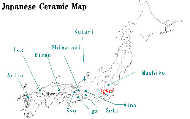 Japanese Ceramic Map: the ceramics that japanstyle introduced so far