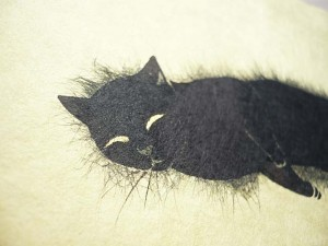 washi paper greeting card cat