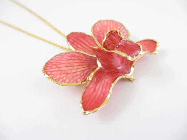 fresh flower pendant rrchid 24k