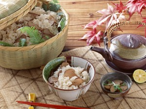 rice cooked with matsutake
