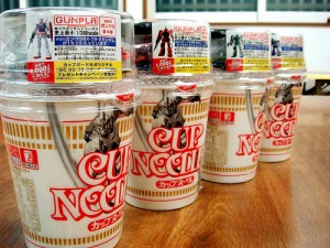 Cup Noodle with Gundam Figures
