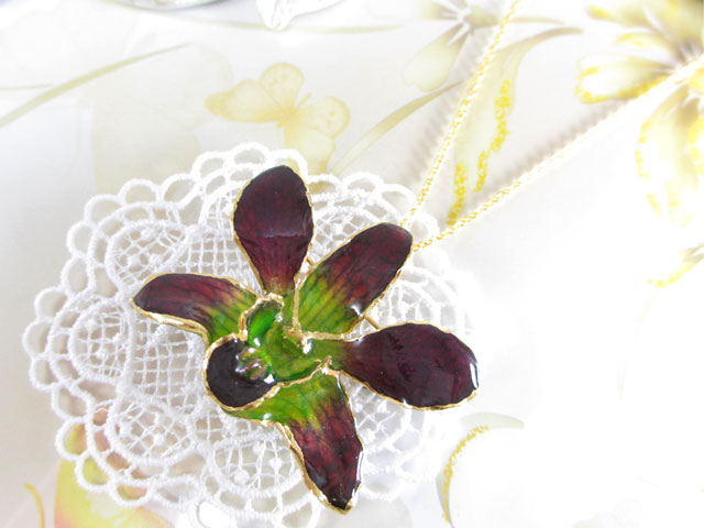 fresh flower orchid pendant 24k purple green