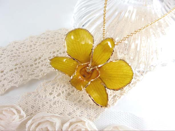 fresh flower pendant yellow orchid