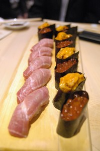 "Sushi (Fatty Tuna, Sea Urchin, Salmon Roe). ""yuichi.sakuraba"" some rights reserved. flickr"