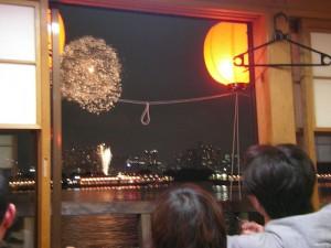 Seeing Fireworks from Yakatabune