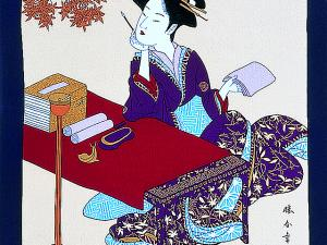 Japanese Furoshiki wall art ukiyoe women