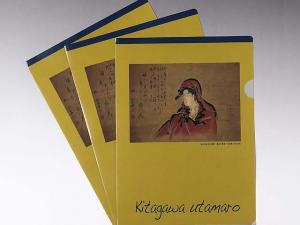 Japanese Ukiyoe Clear File Folder A4 Utamaro Female Stationery Yellow