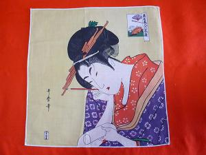 Japanese Ukiyoe Handkerchief Tapestry Utamaro