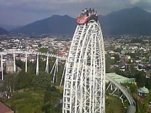 Thrill Rides Against the Back Ground of Mt. Fuji