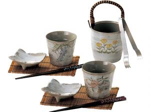 Japanese Sake cups and Ice Bucket Set