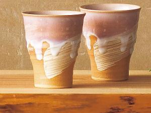 Japanese HAGI Ware Beer Cups nippon pottery 