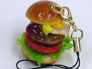COOL! Hamburger Cell phone Strap, charm, made in JAPAN