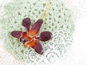 Glass Coating Fresh Flower Pendant Necklace Accessories Orchid 24k Orange