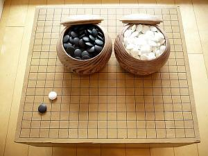$0.99 start! Vintage Japanese Go Ban Game Borad with Stones