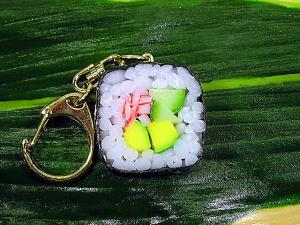 Fake Food! Japanese SUSHI Key Chain --- Mini California Roll