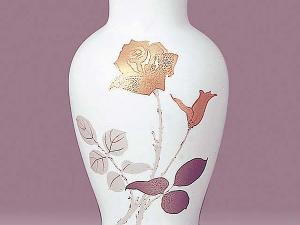 Japanese Gold Rose Design OKURA CHINA Beautiful Vase