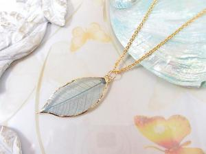 Glass Coating Fresh Leaves Pendant Necklace Accessories 24k