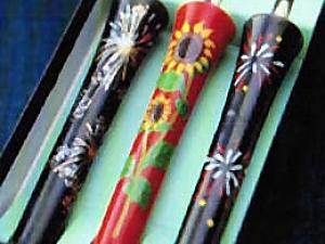 Japanese Candle Stick Set fireworks sunflower handmade