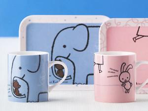 KAWAII! Pair Mug Cup & Tray by Shinzi Katoh